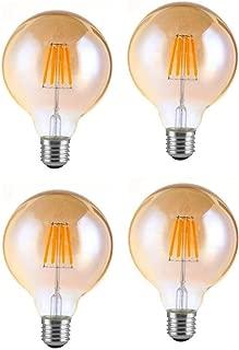 JKLcom G95 LED Vintage Filament Bulb G30/G95 6W Dimmable Edison Antique LED Filament Globe Light Bulb,G95,6W(60 Watts Equivalent),E26/E27 Base,Warm White 2300K,Dimmable,Amber Glass Cover,4 Pack