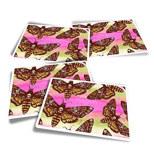 Pegatinas rectangulares de vinilo (juego de 4) – Muerte Cabeza de Halcón Polilla Pegatinas divertidas para portátiles, tabletas, equipaje, reserva de chatarra #16049