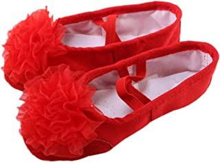 HEALLILY Ballet Dancing Shoes With Gauze Flower Leather Soles Dance Shoes For Kids Size 26 Red