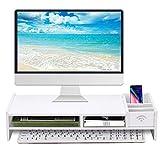 Monitor Stand Riser, Computer Laptop Riser Shelf with Organizer Drawer (White, 19'L x 8'W x 4'H)