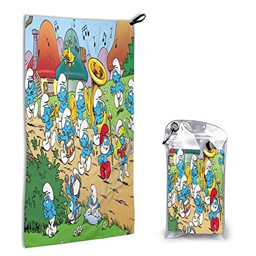 Large Puzzle Die Schlümpfe sanddichte Mikrofaser-Stranddecke 40 x 80 cm, faltbar, schnell trocknend, Stranddecke mit elastischer Schlaufe für Reisen, Picknick, Camping, Wandern