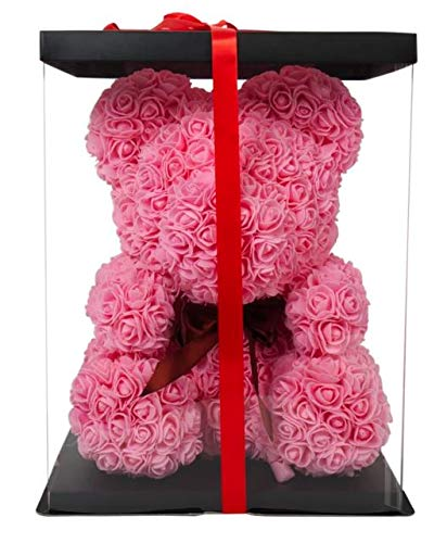 WAIST SHAPERZ FleurAmore Rose Flower Bear - 16 Inches Tall - Over 500+ Flowers on Every Rose Bear - Perfect for Anniversary's, Birthdays, Bridal Showers, Mothers Day, Etc. - Clear Gift Box Included!