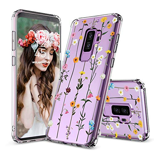 MOSNOVO Galaxy S9 Plus Case, Clear Galaxy S9 Plus Case, Wildflower Floral Flower Pattern Clear Design Printed Transparent Case with TPU Bumper Case Cover for Samsung Galaxy S9 Plus