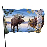 Bandera Bandera Alces En El Lago Forest Funny Durable Banner Bandera Decoración Colgante Para La Decoración Del Patio Del Patio Del Jardín Decoración Del Partido 90X150 Cm