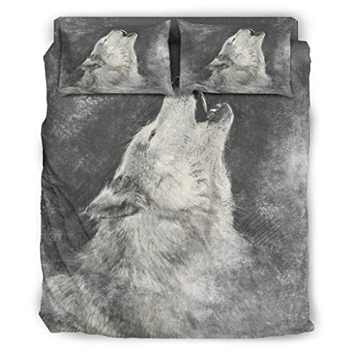 CABOTURN Howling Wolf Wrinkle and Fade Resistant Bed Cover Bedding Cool and Wrinkle-Free for Bedroom White Cal King