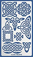 Aleks Melnyk #37.3 メタルジャーナルステンシル ケルトノットウィッカ アイリッシュステンシル 1枚/テンプレート ペインティング ウッドバーニング パイログラフィ 木彫り 刺繍用 キルティング/スカンジナビア風 バイキングシンボル
