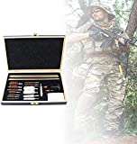 Bolsa de escopeta que acampa, Kit de limpieza de armas de madera, accesorios de pistola, juegos de limpieza Accesorios de caza con estuche de viaje Tamaño de viaje Limpieza de pinceles Conjunto de 28