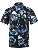 Men's Hawaiian Shirt 4 Way Stretch Relax Fit Floral Tropical Shirts HWS035 L