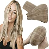 Blond Tressen Echthaar zum Einnähen Dunkles Aschbraun Strähnchen mit Blond Extensions Echthaar Weaving Glatt Klavierfarbe Sew in Weave Hair Extensions 100g/Bundle 55 cm