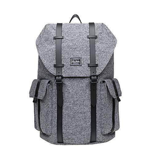 KAUKKO Laptop Rucksack 14 Zoll für Damen Herren Outdoor Reiserucksack mit Grosse Kapazität 17.8 L Leinen Grau