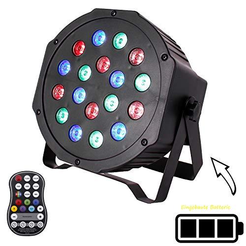 LED Par mit 8 Eingebautem Akku,U`King 18LED RGB Bühnenbeleuchtung Par Strahler DMX512 und Sound Control-Modus für Bars, Clubs, Konzerte