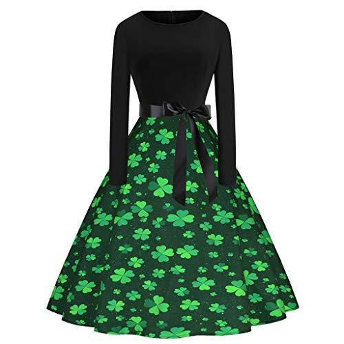 PPangUDing St. Patricks Day irischer grün kleeblatt Kleid Damen Retro Rundhals Langarm Kleeblatt Druck Patchwork Partykleid Cocktailkleid Abendkleider Minirock für Karneval Festlich Party