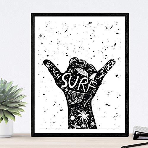 Nacnic Lámina para enmarcar Lets Surf Poster con Imagen surfera. Lámina en Blanco y Negro. Impresa en Papel 250 Gramos tintas Resistentes. Tamaño A3