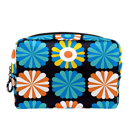Cosmetic Bag Womens Makeup Bag for Travel to Carry Cosmetics Change Keys etc,Decorative Teal Floral