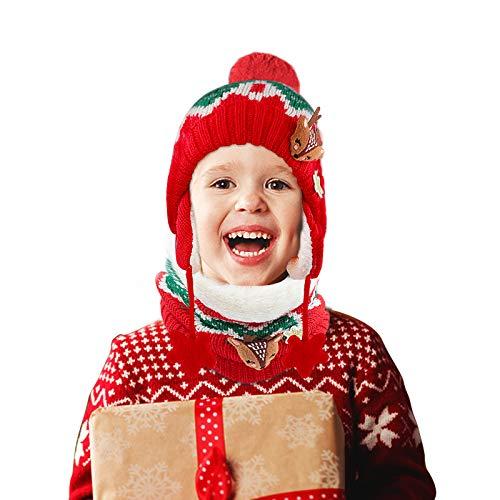 JTENG Bambino Cappello Sciarpe Autunno Invernale Carina Piccolo Volpe Beanie Cappelli Berretto Bambini Infantili del Cappello per 1-12 Anni Bambino Set di Sciarpe per Berretti (Rosso, S)