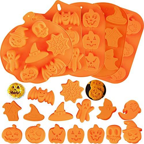 5 moldes de silicona para hornear para Halloween, moldes de silicona para dulces con calabaza, chocolate, magdalenas, calavera, forma de fantasma, para cocina, herramientas para hornear y recuerdos de