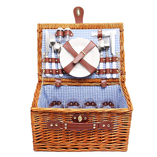 TRF Wicker Picnic Basket, 2 Person Willow Picnic Hamper with Blanket - Stainless Steel Cutlery Plate Condiment Bottles Bottle Opener - for Outdoor Camping