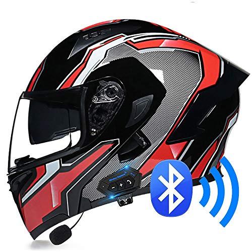 BDTOT Bluetooth de la Motocicleta Casco Volteo Visera del Casco el Dot Certificado Tipo Modular de Doble Completo Lntegrado de Intercomunicación Sistema para Adultos Hombres Mujeres