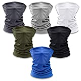 6 Pieces Sun UV Protection Face Mask Neck Gaiter Scarf Sunscreen Breathable Bandana Balaclava for Cycling Fishing Hiking Running Outdoors Sports Black