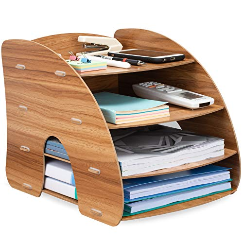 Tonsmile Wooden Office Desk Tidy Stationery A4 File Document Tray...