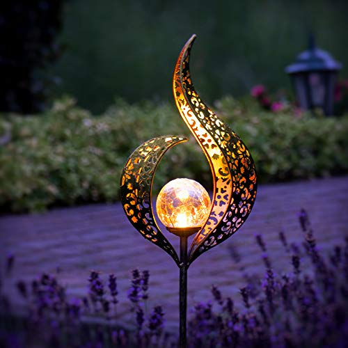 Gadgy Set of 2 Solar Powered Garden Lights | Flame Design |Tall Outdoor Lamps | Waterproof Lamp for Outdoor Decor