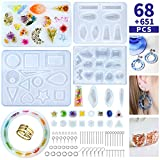 Resin Jewelry Molds, 719Pcs Silicone Epoxy Resin Earring Mold with Earring Hooks Jump Rings for Resin Casting