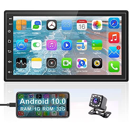 Hikity 7 pollici 2DIN Android Auto, Autoradio RDS/FM Bluetooth WiFi Navigazione GPS, Autoradio touch screen 1080P con telecamera posteriore