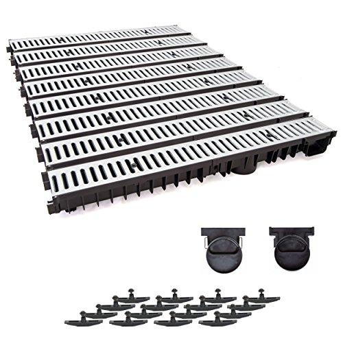 8m Entwässerungsrinne mit Dichtung Tiefe: 100 mm. Belastungsklasse A15. Stahlrost verzink.