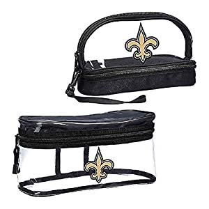 Officially Licensed NFL New Orleans Saints 2-Piece Travel Set - Toiletry Bag for Men or Women, Dopp Kit, Cosmetic and Shaving Bag, Clear, 10.75 x 4.5 x 5.5 inches