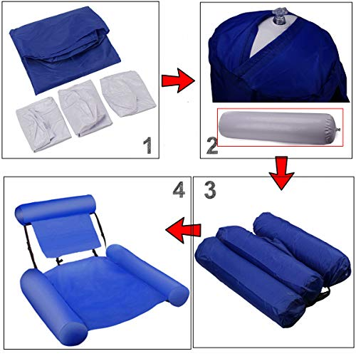 VARWANEO Inflatable Water Hammock Pool Float Bed Lounger Chair Drifter for Swimming Pool Beach Holiday Party Air Sofa Floating Chair Bed Drifter Beach Float, Blue