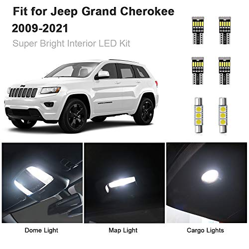 AWALITE 15pcs Grand Cherokee Interior LED Lights Kit Super Bright LED Map Dome Light Bulbs for 2011-2021 Jeep Grand Cherokee All Models