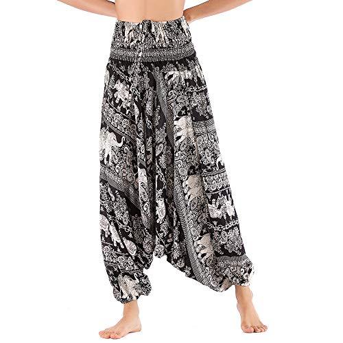 Nuofengkudu Mujer Thai Algodón Harem Pantalones Jumpsuit Hippie Boho Estampados Baggy Monos Pantalón Cintura Alta Indios Tallas Grandes Yoga Pants Pijama Verano Playa(Elefante Negro,Talla única)