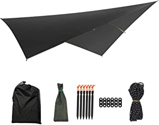 Ybriefbag-Accessories Easy Folding Multi-Function Outdoor Tent Sunshade Portable Hammock Rain Fly Waterproof Tent Tarp Camping Backpacking Tarp (Color : Black-01, Size : 290x290CM)