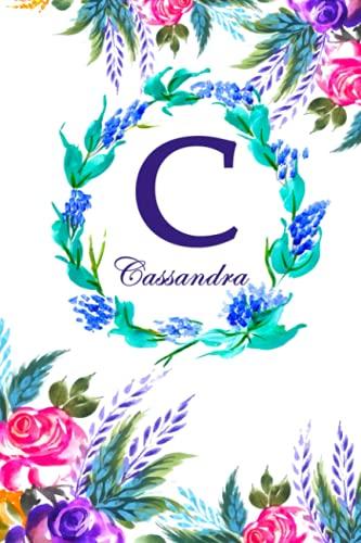 C: Cassandra: Cassandra Monogrammed Personalised Custom Name Daily Planner / Organiser / To Do List - 6x9 - Letter C Monogram - White Floral Water Colour Theme