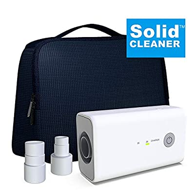 New SolidCLEANER CPAP Cleaner and Sanitizer Bundle Includes Sanitizing Bag, Compatible Heated Hose Adapter, Air Mini Adapter, Portable and Rechargeable Mask Tube Cleaner