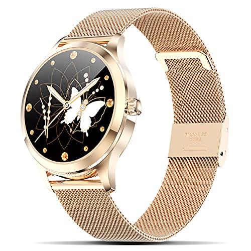 Fullmosa Smart Watch Herren Damen für Android iOS, Fitnessuhren mit Voll-Touchscreen und Blutsauerstoff-Herzfrequenz-Schlafmonitor, IP68 wasserdichte Sportuhren Armbanduhr, Gold