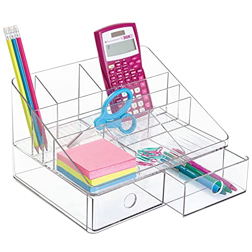 mDesign Organizador de Escritorio Transparente – Organizador de Oficina con 2 cajones y 6 Compartimentos – Práctico Organizador de Material de Escritorio