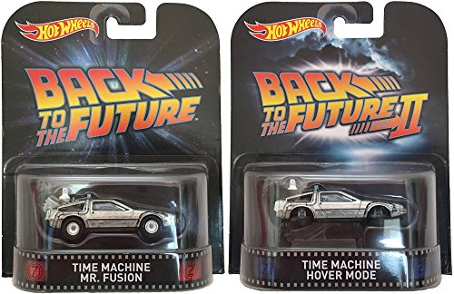 Set of 2 Hot Wheels DeLoreans: Time Machine Mr. Fusion & HOVER MODE Back To The Future 2015 Retro Series 1:64 Scale Collectible Die Cast Metal Toy Car Models by Hot Wheels