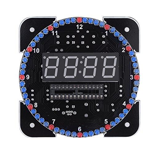 DIY-klokset, multifunctionele lichtregeling Rotatie DIY-vervangende onderdelen Digitale LED Elektronische temperatuurklokset Suite (Suite met koffer en USB-kabel rood)