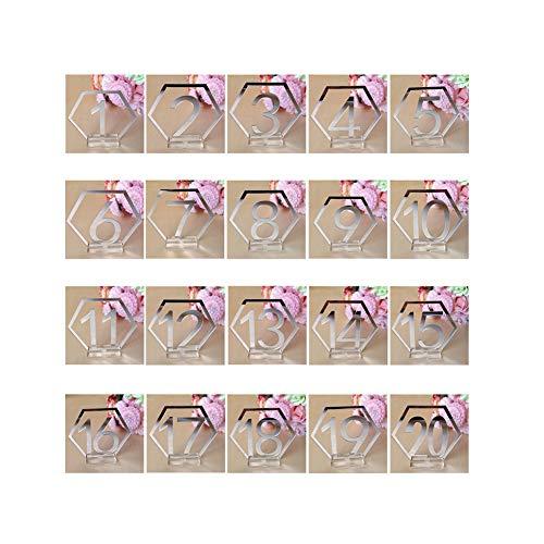 New 201bis 20Acryl Tisch der mit Halter Basis Für Hochzeit Party Dekoration 20Stück Tischnummernhalter Hochzeit Gold Silber Farbe silber