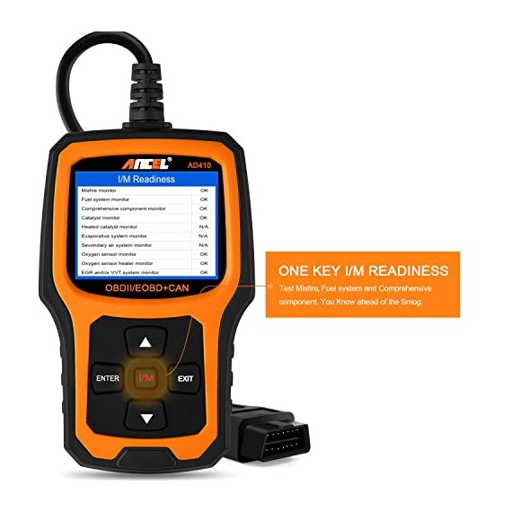 ANCEL AD410 Enhanced OBD II Vehicle Code Reader Automotive OBD2 Scanner Auto Check Engine Light Scan Tool Emission… 5 WIDE COMPATIBILITY - Recommended by YouTube Star Scotty Kilmer on his channel. Works on most vehicles sold in the USA with model year of 1996 or newer; Supports all OBDII protocols: KWP2000, ISO9141, J1850 VPW, J1850 PWM, and CAN (Controller Area Network); Displays in English, German, French, Spanish, Finnish, Dutch, Russian, and Portuguese; Requires no battery or charger as the unit gets power directly from the OBDII Data Link Connector in the vehicle. CRITICAL FUNCTIONALITY - Reads quickly and erases stored emission-related codes, pending codes, and shows code definitions. Turns off the MIL (check engine light), helps in resetting the monitor before taking it to Smog, and tells you what is going on before bringing the car in for repair. ENHANCED OBDII DIAGNOSTICS - Supports O2 Sensor and EVAP (Evaporative Control) System Test. AD410 code scanner can be used to initiate a leak test on a vehicle's EVAP system by monitoring the integrity of the fuel tank system. The O2 Sensor Test is designed to monitor and adjust air/fuel mixture, which will help identify and troubleshoot issues related to fuel efficiency and vehicle emission.