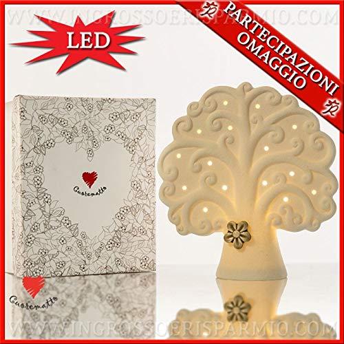 Cuorematto - Lampada a led in ceramica bianca a forma di albero della vita con fiore, in due dimensioni, bomboniere matrimonio originali, con scatola regalo inclusa (Grande-con confezione rosa)