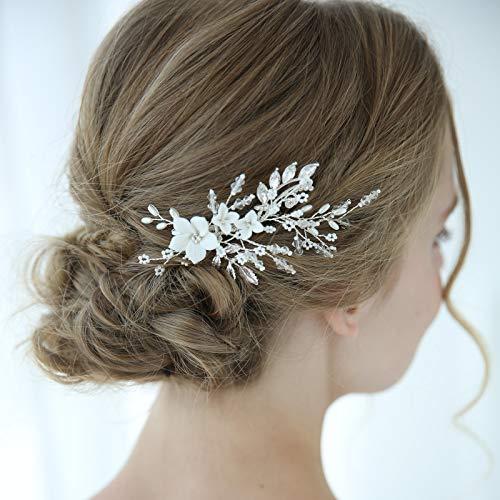 SWEETV Perle Hochzeit Haarspange Kamm Haarspange Blume Kristall Braut Haarschmuck Silber Kopfschmuck für Frauen Hochzeit