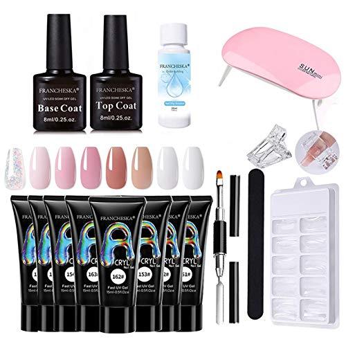 Nagelgel-Set, PolygelSet mit Decklack, Gel-Nagel-Set Anfänger, 8 x UV-Gel, Nagelbürste, Nagelfeile, Spatel, Mini-UV-Lampen, 100-teilige Nagelspitzenform für Nageldesign