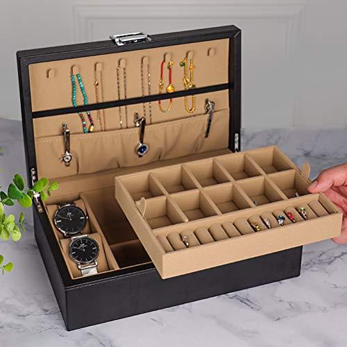 HKHJ Caja Joyero de 2 Niveles, Estuche de Joyas para Mujer, Joyero Grande Organizador de Textura de PU Cuero, Tabique Extraíble para Collares Pendientes Anillos Relojes