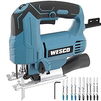 Jigsaw WESCO 4.5 Amp Electric Jig Saw 0-3000 SPM 6 Variable Speed 4 Orbital Sets ±45° Bevel Cutting Angle Adjustable Aluminum Base 10PCS Blades for Metal PVC Ceramic Wood Cutting/WS3770U
