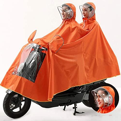 Adult Poncho, Electric Motorcycle, Double Wear Hat, Weatherproof (Color : Orange, Size : 3XLARGE)