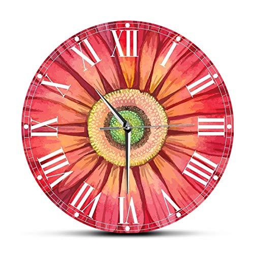hufeng Wanduhr Rotes Aquarell Gerbera Daisy Paints Große Wanduhr Uhr Sonnenblume Blumenmuster Horologe Wohnzimmer Dekoration Stumme Uhren