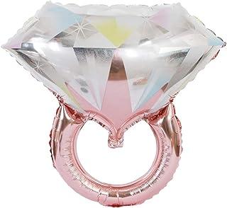 2pcs Diamond Balloons Romantic Ring Shaped Balloons Aluminum foil Balloons for Wedding Bridal Shower Engagement Party (Rose Gold)