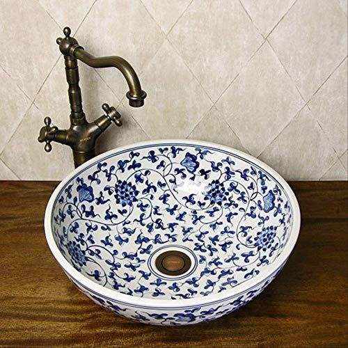 CBCJU Orientalische handbemalte Blaue und weiße Keramik Porzellan Waschbecken Durchmesser41 * High15CM A